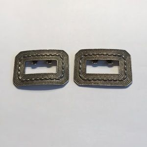 Vintage shoe clips - textured silver collectible